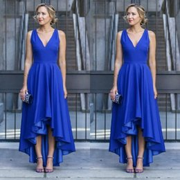 Longues Robes Formelles À Dos Bas Pas Cher-Cheap High Quality Hi Low Party Robes Royal Blue A Line V Neck Sans manches Short Front Long Back Prom Dress Invités Habillement formel