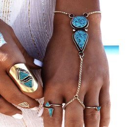 chain finger rings Canada - 2017 Fashion Charm alloy Bracelets Chain jewelry women Bohemian Beach styles Bracelets Retro National Turquoise Finger Ring Link Bracelet