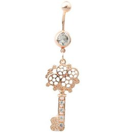 coloured key rings UK - D0489 ( 1 color ) Nice KEY style belly ring colour as imaged piercing body jewlery navel belly ring body jewelry