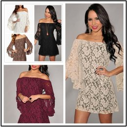New Sexy Fashion Women White Cream Lace Wedding Off The Shoulder Mini Dress Womens Long Sleeve Summer Casual