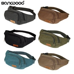 Discount cell phone chest packs - Wholesale- Canvas Three Zipper Pockets Fanny Pack Chest Waist Bag with Cell Phone Pouch
