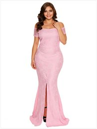 Barato Grandes Vestidos De Noite Tamanho Maior-Mulheres Big Large Elegante Sexy Formal Lace Split Evening Evening Special Occasions Dresses 2017 New Plus Size Clothing Off Shoulder Long Evening Gown
