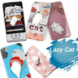Discount toy apples - For iphone 7 plus Soft Squishy Silicone Lazy Cat Toys Cartoon Cute Pattern Back Cover Phone TPU Case For iphone7 SCA306