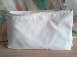 diy zipper bag NZ - Women Crafts White canvas Bags DIY women blank plain zipper makeup bags w cotton lining phone clutch bag organizer cases kids pencil pouches