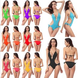 Maillots De Bain Cravates Pas Cher-Hot One piece Monokini swimsuit Grossir Push Up mousse Coupe Cravates à dos et cou Bandage Maillots de bain