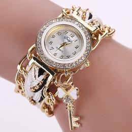 $enCountryForm.capitalKeyWord NZ - Duoya Fashion Women's Ladies Dress Watches 2016 Fashion Key Braided Band Rhinestone Quartz Wrist Watches Relogio feminino Clock