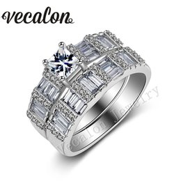 $enCountryForm.capitalKeyWord NZ - Vecalon Brand Design Princess cut 2ct Cz Simulated diamond 10KT White Gold Filled Engagement Wedding Ring Set for Women Sz 5-11