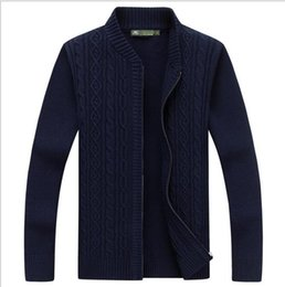 Barato Extra Magro Mais-Men Sweaters venda quente Homens Casual Style Sweater Stand Collar Whole Cotton Material Slim Fitted Autumn Zipper Cardigan Plus Size M-3XL
