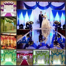 Easter Backdrops Canada - Nen 3pcs lot (1pcs 6*3m+2pcs 2*2m) ice silk Wedding Drape curtain Pleated Backdrop Curtain Decoration&Swag Background