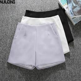 White Shorts Australia - Summer Style Fashion Casual High Waist Shorts Black Gray White Casual Vintage Women Short S M L XL Wide Leg Shorts