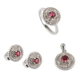 Copper Earrings Australia - Copper Rhodium Plated Punk heart set (ring earring pendant) Red Cubic Zirconia Noble Generous MN3101set sz#6 7 8 9 Beautiful Rave reviews