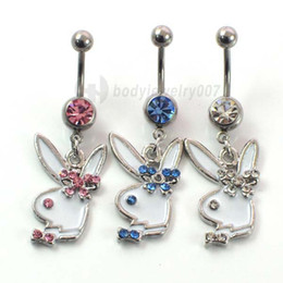 Animal Rings Fashion Accessories NZ - D0257 ( 3 colors ) rabbit Belly Button Navel Rings Body Piercing Jewelry Dangle Accessories Fashion Charm Playboys CZ Stone