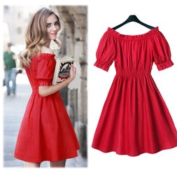 Line Short Dresses Sleeves Red NZ - New 2016 Charming Summer Women Dress Short Sleeve Off Shoulder A line Red Party Dress Vestidos Free Shipping Cheap Casual Dress