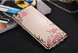 Wholesale Plating Soft TPU Case For Iphone Plus OPPO R9 Huawei P8 P9 Lite A C X Diamond Bling Secret Garden Flower Butterfly Skin Cover