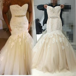 $enCountryForm.capitalKeyWord NZ - Plus Size Lace Mermaid Wedding Dresses 2017 Sweetheart Cryatal Beaded Sash Appliqued Tulle Bridal Gowns Custom Made China EN8175