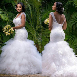 Barato Espartilho De Casamento Profundo V-Vintage Plus Size Mermaid Wedding Dresses Beading Sheer Deep V Neck Backless Corset Ruffles Tulle Spring Garden Corset Wedding Bridal Gowns