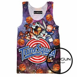 Barato Impressão Animal-Atacado- ALMOSUN Space Jam Tune Squad 3D All Over Print Tank Tops Hot Summer sem mangas Hipster Hip Hop Street Wear Top Tee para homens