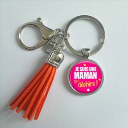 Discount gifts for photo lovers - TAK--110 Fashion Je Suis Une MAMAN qui dechire Tassel Key Chain Handcraft art photo Glass Cabochon Keyring for MAMAN Gif
