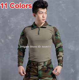 Black White Camo Shirts Canada - Military clothing german camouflage clothes kryptek camo uniform combat shirt paintball US Army training tactical clothing for hunting ACU
