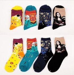 Discount mona lisa art - Fashion Retro Women Men Painting Mona Lisa Art Socks Funny Novelty Starry Night Comfortable Breathable Socks 2016 Hot HJ
