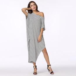 a38c0f1ff77 2017 Women Summer Dress Long Maxi Loose Dress Striped Batwing Sleeve Off- shoulder Split Casual Beach Wear Plus Size Vestidos discount plus size long  sleeve ...