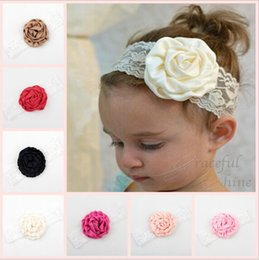 Barato Elástico Para Fitas Infantis-Newborn Baby Girls Elástico Lace Rose Flower Headbands Infant Kids Bandinhas de cabelo Crianças Cetim Headwear Acessórios para cabelo Lace Headbands KHA233