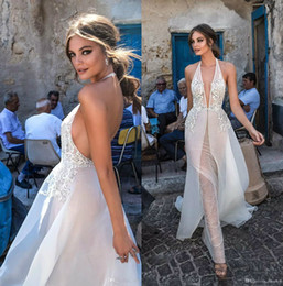 Barato Corpete Halter Vestido-Berta 2018 New Lace Wedding Dresses Backless Halter V Neck Illusion Bodice Sweep Train Sexy Open Back Bridal Gowns