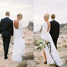 28db1b9cfe2da online shopping 2016 Boho Flowing Beach Wedding Dress Bateau Neckline  Illusion Long Sleeves Backless Chiffon Bridal