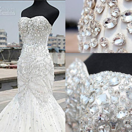 expensive luxury wedding dresses mermaid 2016 sexy sparkly beaded crystal sweetheart neck elegant ivory backless bridal gowns long train