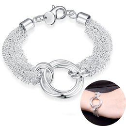 $enCountryForm.capitalKeyWord Australia - Multi-line Statement Bracelet Three-ring Charms Women Fashion 925 Sterling Silver Plated Chain Jewelry High Quality Girls Cute Beauty Gifts