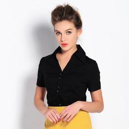 cca2682df 2016 summer women V neck short sleeve OL shirt bodysuits blouses Ladies  slim office work wear Siamese shirts plus size