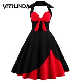 Chinese  Wholesale- VESTLINDA Vintage 50s 60s Rockabilly Summer Dress 2017 Sexy Halter Women Dress Robe Plus Size Pin Up Party Dresses Vestido manufacturers