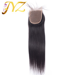 4x4 accessories online shopping - 4x4 Natural Color Top Quality Peruvian Malaysian Indian Brazilian Virgin Hair Straight Closure With Baby Hair