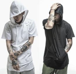 $enCountryForm.capitalKeyWord Australia - New extended tee shirt hip hop Fashion Hole Hooded Streetwear Kanye West Broken Destroy short sleeve T Shirts cool swag clothes