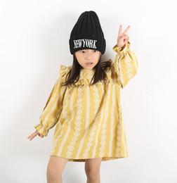 ShipS lantern online shopping - INS styles new arrival Girl dress kids spring long sleeve cotton cartoon lace print round collar dress girl yellow dress