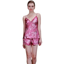 50f2537772 Wholesale- Silk Satin Pajama Set Lace Pyjama Set Sleeveless Sexy V-neck  Sleepwear Summer Home Wear Sleep Wear For Women