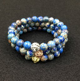Mens gold lion head bracelet online shopping - SN0446 mm Blue Sea Sediment Stone Beads K Gold Rose Gold Silver Lion Head Bracelet New Design High Grade Mens Jewelry