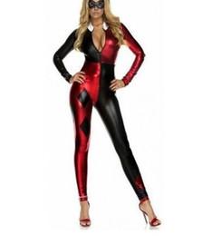 Discount women costume sexy xxxl - Sexy Shiny Metallic Villain Harley Quinn Costume Bodysuit Halloween Cosplay Female Women Girls Lady Zentai Catsuit