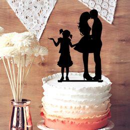 $enCountryForm.capitalKeyWord Canada - Family Wedding Anniversary Cake Topper, Kissing Bride and Groom with Little Girl Wedding Acylic Cake Topper