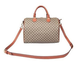 Venta al por mayor de 2016 Marca de lujo Real bolso de compras de cuero oxidante speedy Damier Handbag 25 30 35 con correa de bloqueo y llave Classic Impreso Canvas Bag