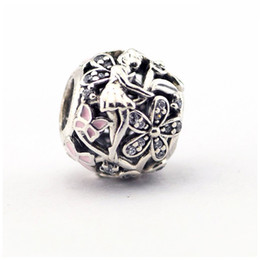 Authentic Flowers Australia - Dazzling Daisy Fairy Charms Beads Authentic 925 Sterling-Silver-Jewelry Pave Crystal Angel Flower Bead Fits DIY Brand Bracelets Jewelry