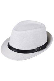 Straw Hat Trilby UK - Wholesale-Hat Boys Fedoras Trilby Cap Straw Beach Sunhat with Belt White