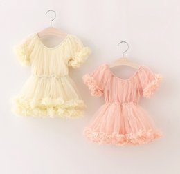 wholesale tutus Australia - Fairy Baby Kids Clothing Western Style Children Clothes Girl Short Sleeve Petals Tutu Gauze Dress Fashion Girl's Dresses 2 Color Dressy 9266