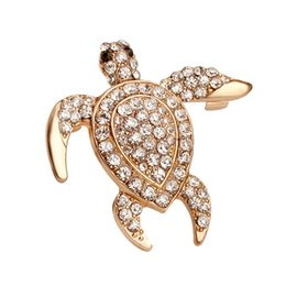 China Luxury Wholesale Jewelry NZ - 2018 Women Wedding Party Luxury turtle Shape Crystal Jewelry Brooch Pin Up Crystal Brooch China Gold Plated Fashion JewelryZJ-0903614