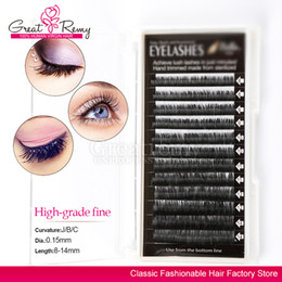 Extensions De Cils 8mm Pas Cher-Greatremy Eyelashes individuelles Extensions Natural Thick Soft Mink Fur Fake Cils Longueur 8mm 9mm 10mm 11mm 12mm 14mm (1 plateau)