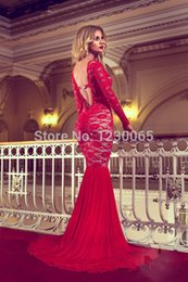 Backless Scoop Prom Dresses Canada - Hot&sexy backless crystal scoop neck mermaid red lace long prom dresses with long sleeves 2018 free shipping evening dress