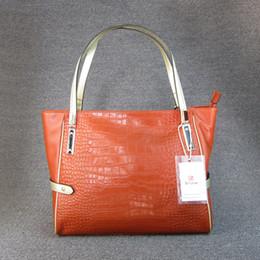 Genuine Alligator Leather NZ - Luxury Alligator Large Tote Shoulder Bag Genuine Leather Womens Natural Cowhide Top Handle Handbag Satchel Bags For Women W09130