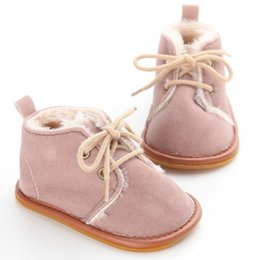 Bottillons Neufs En Gros Pas Cher-Vente en gros - Mode Casual Bébé Garçons Filles Lace-up Winter Prewalkers Soft Soled Rubber Infant Newborn Kids Sneakers Chaussures Chaud Bottes Booties