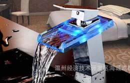 TB2020 # светодиодный свет квадратный стеклянный водопад ванной бассейна кран хром полированный смеситель тщеславие torneira banheiro cozinha hansgrohe