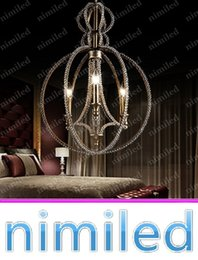pendant lamp hallway light NZ - nimi751 Dia 46cm American Bead Retro Rustic Restaurant Bedroom Hallway Lights Living Room Crystal Chandeliers Wrought Iron Pendant Lamp